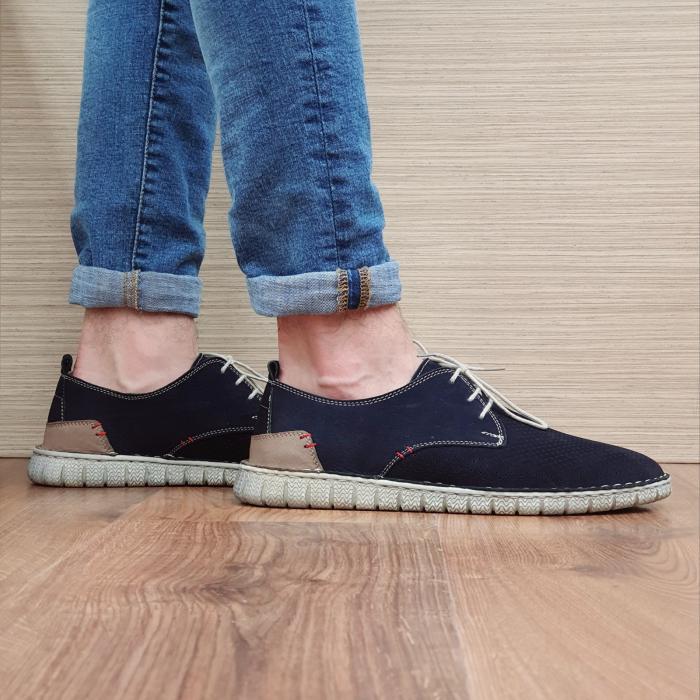 Pantofi Casual Barbati Piele Naturala Bleumarin Arnav B00057 0