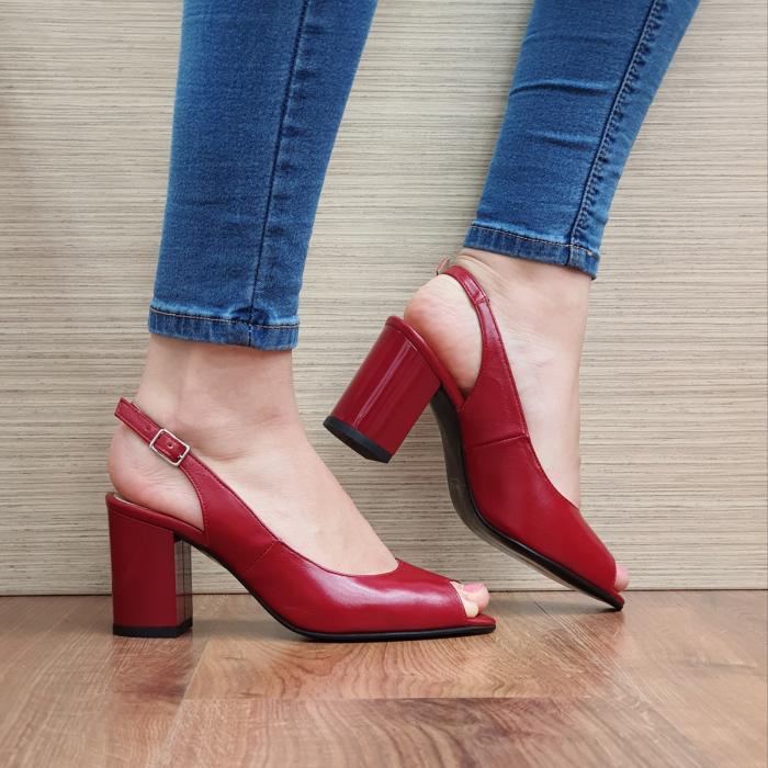 Sandale Piele Naturala Rosii Rosalinda 0
