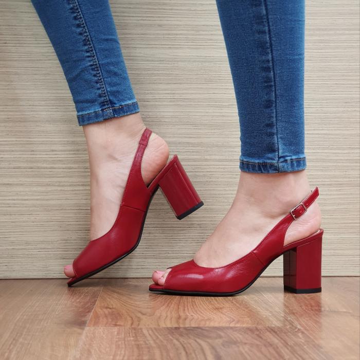 Sandale Piele Naturala Rosii Rosalinda 1