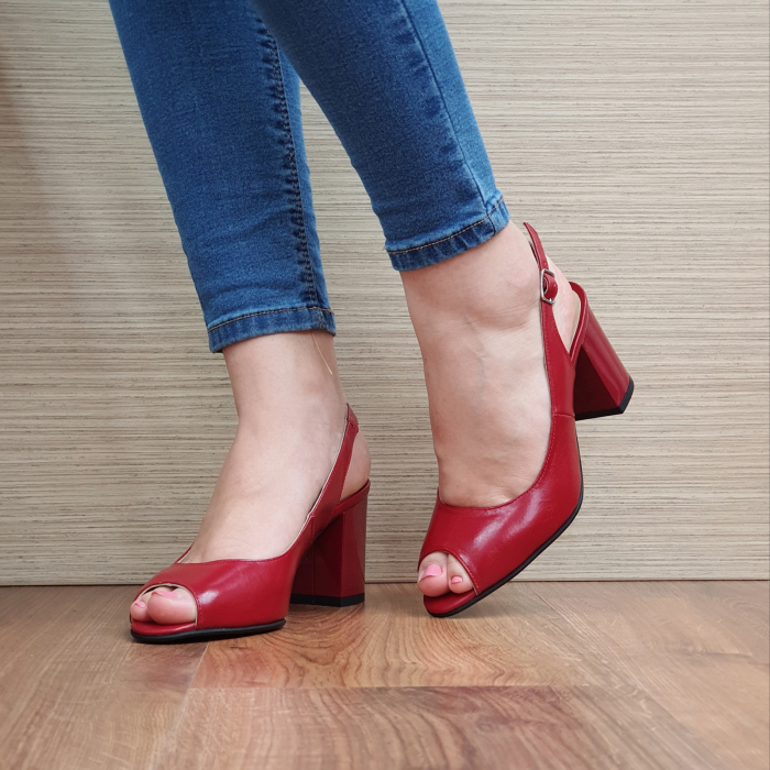 Sandale Piele Naturala Rosii Rosalinda 2
