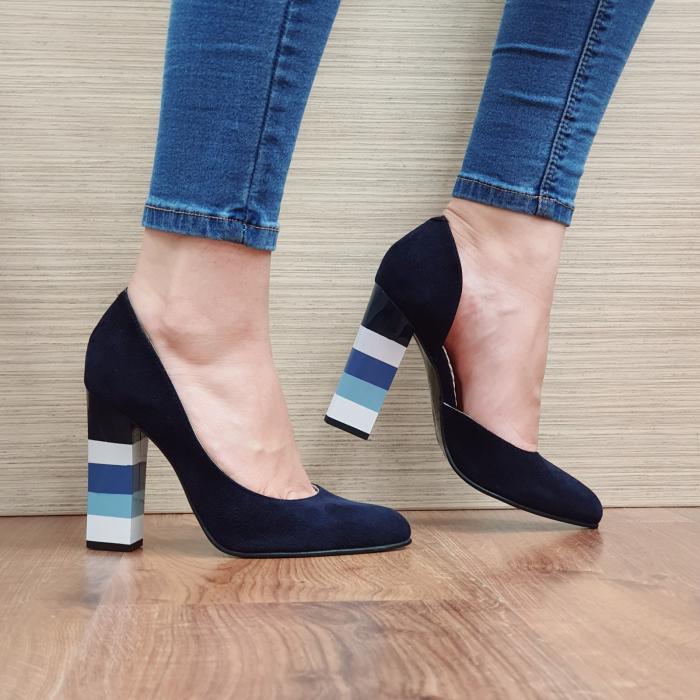 Pantofi cu toc Piele Naturala Bleumarin Mandisa D02372 [0]