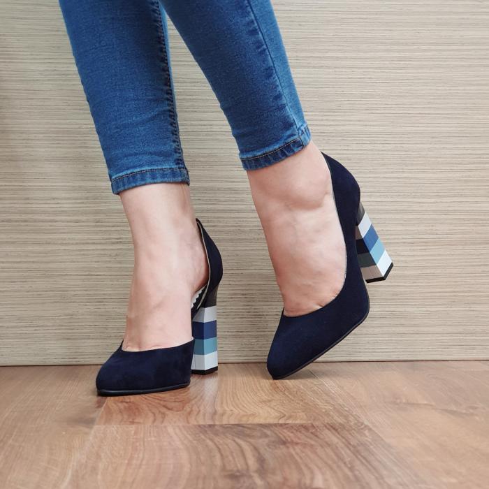 Pantofi cu toc Piele Naturala Bleumarin Mandisa D02372 [2]
