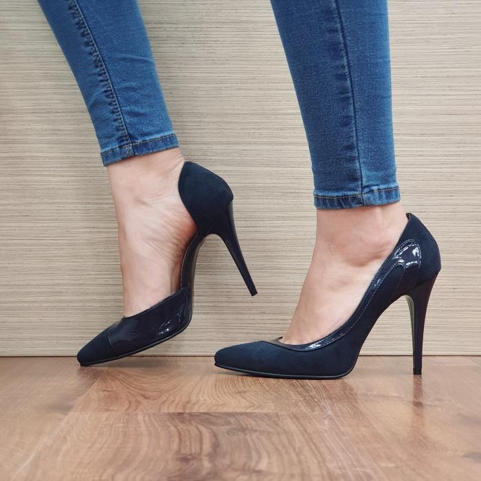Pantofi cu toc Piele Naturala Bleumarin Noor D02397 1