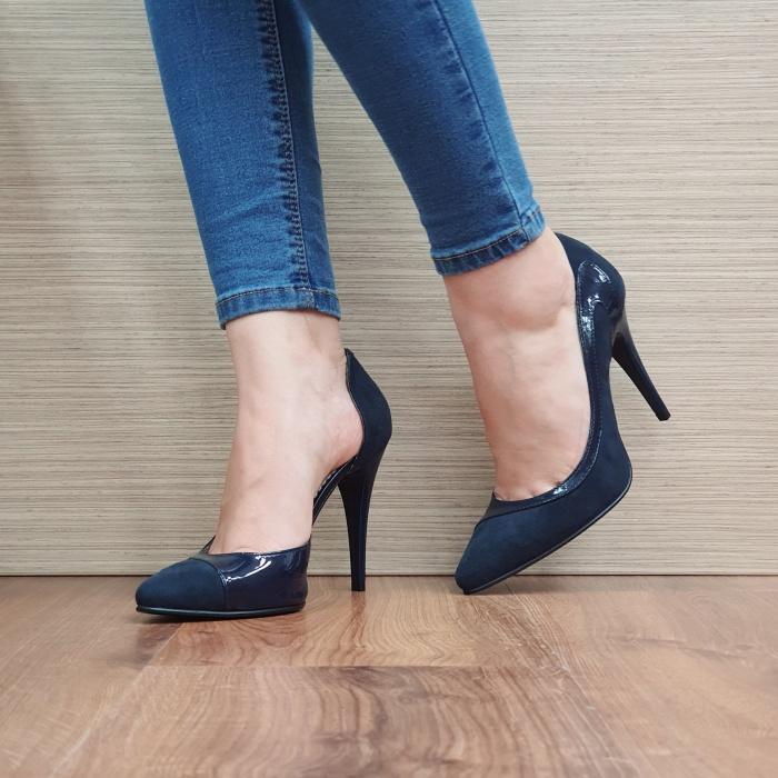 Pantofi cu toc Piele Naturala Bleumarin Noor D02397 0