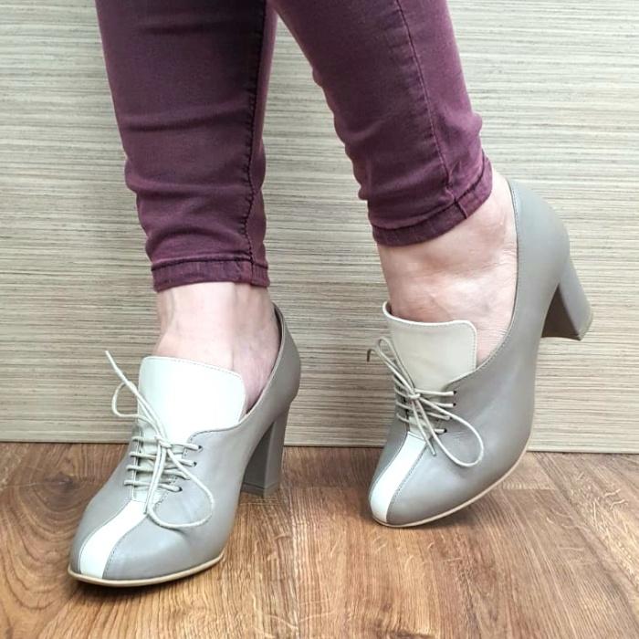 Pantofi cu toc Piele Naturala Crem Guban Alova D02552 [2]