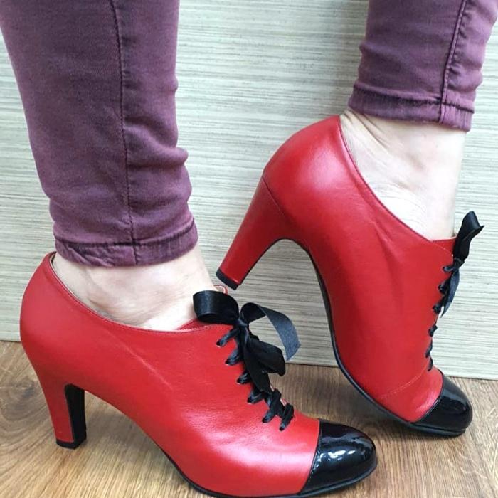 Pantofi cu toc Piele Naturala Guban Rosii Aman D02553 2