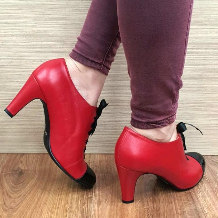 Pantofi cu toc Piele Naturala Guban Rosii Aman D02553 3