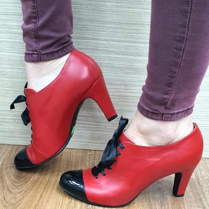 Pantofi cu toc Piele Naturala Guban Rosii Aman D02553 1