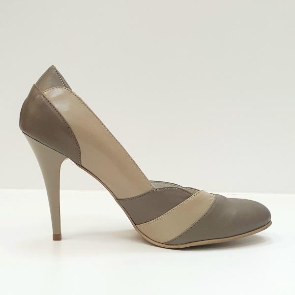 Pantofi cu toc Piele Naturala Grej Apfia D02590 0