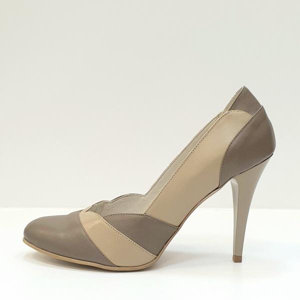 Pantofi cu toc Piele Naturala Grej Apfia D02590 1