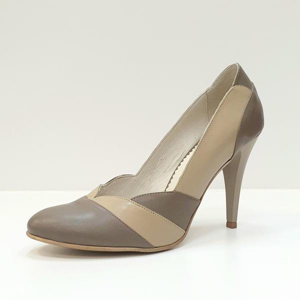Pantofi cu toc Piele Naturala Grej Apfia D02590 2