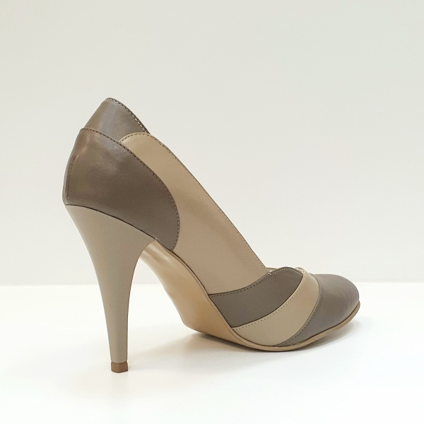 Pantofi cu toc Piele Naturala Grej Apfia D02590 3