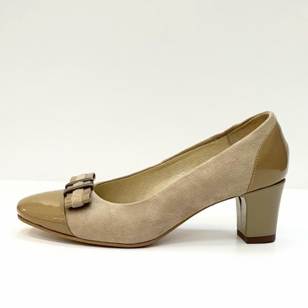 Pantofi cu toc Piele Naturala Bej Corina D02603 1