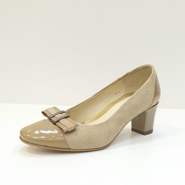 Pantofi cu toc Piele Naturala Bej Corina D02603 2