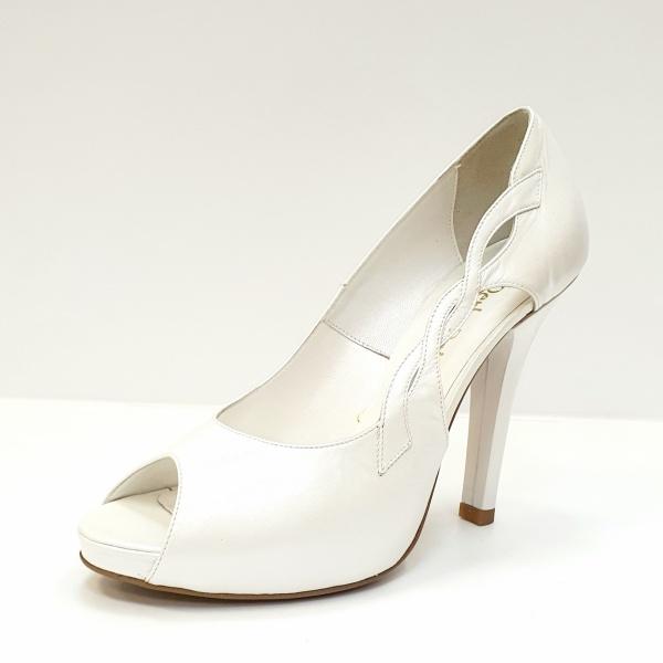 Pantofi Dama Piele Naturala Albi Adana D02605 2