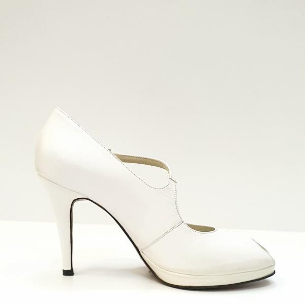 Pantofi Dama Piele Naturala Guban Albi Floria D02608 0