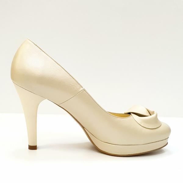 Pantofi cu toc Piele Naturala Bej Adia D02613 0