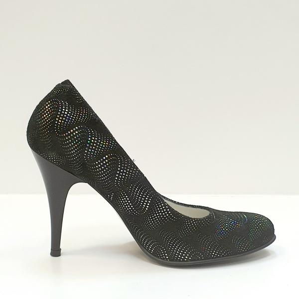 Pantofi cu toc Piele Naturala Negri Hetura D02619 0
