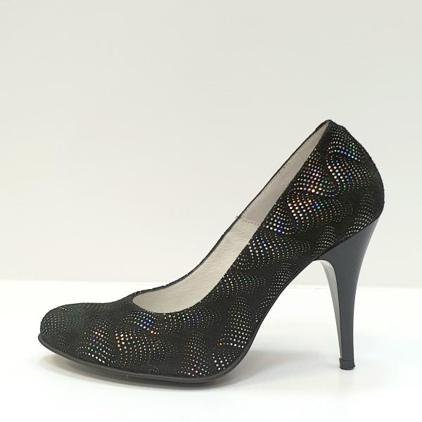 Pantofi cu toc Piele Naturala Negri Hetura D02619 1
