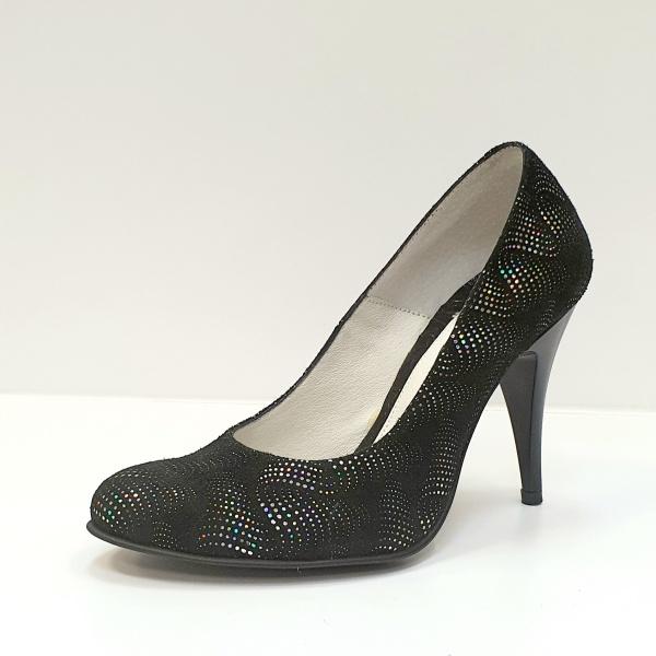 Pantofi cu toc Piele Naturala Negri Hetura D02619 2