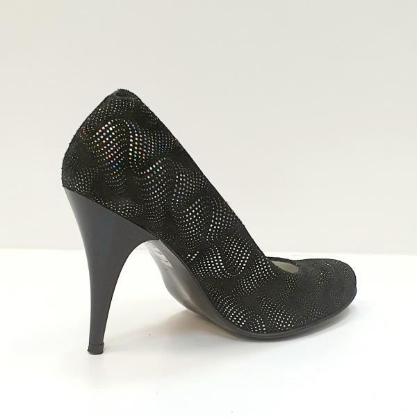 Pantofi cu toc Piele Naturala Negri Hetura D02619 3