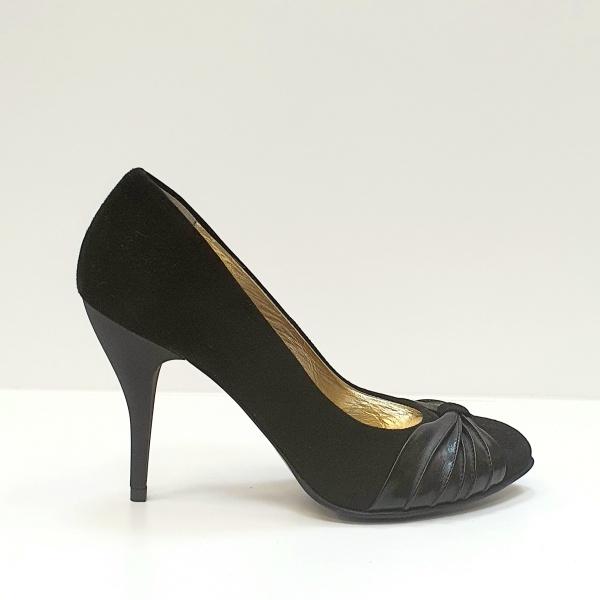 Pantofi cu toc Piele Naturala Moda Prosper Negri Illy D02620 0