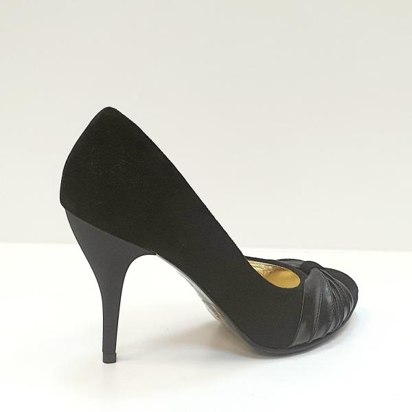 Pantofi cu toc Piele Naturala Moda Prosper Negri Illy D02620 3