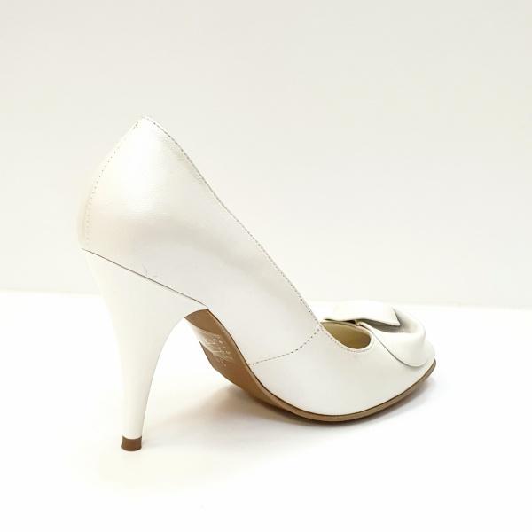 Pantofi cu toc Piele Naturala Albi D02621 3