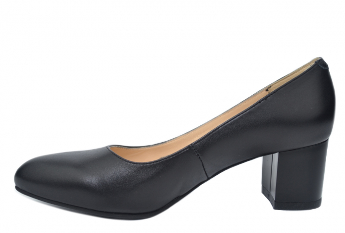 Pantofi cu toc Piele Naturala Negri Emma D02195 1