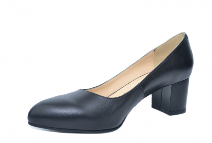 Pantofi cu toc Piele Naturala Negri Emma D02195 2