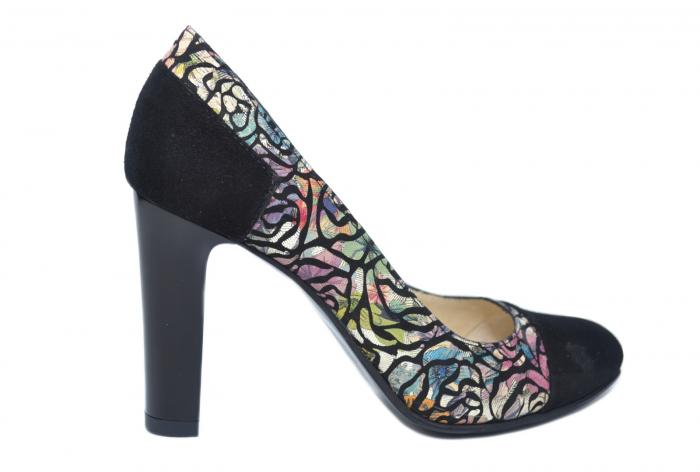 Pantofi cu toc Piele Naturala Negri Yana D02186 0