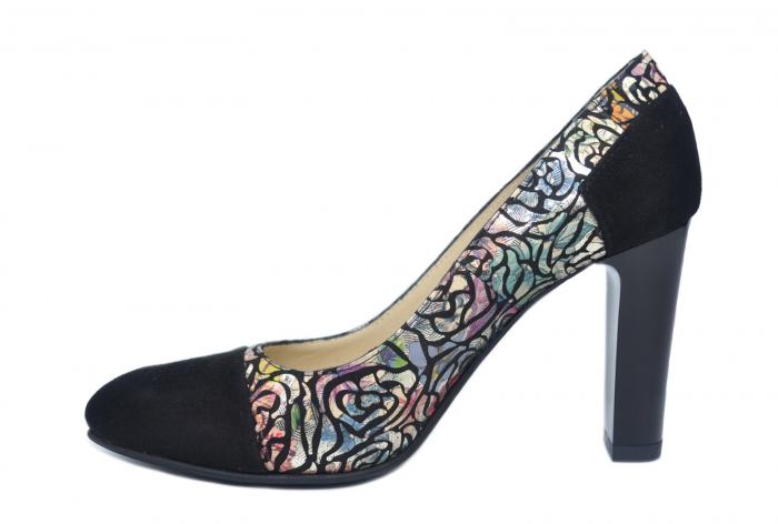 Pantofi cu toc Piele Naturala Negri Yana D02186 1