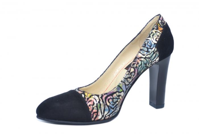 Pantofi cu toc Piele Naturala Negri Yana D02186 2