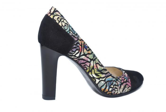 Pantofi cu toc Piele Naturala Negri Yana D02186 3