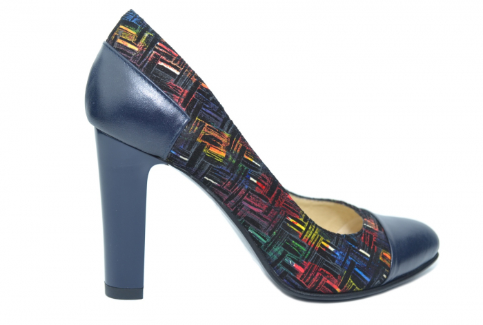 Pantofi cu toc Piele Naturala Bleumarin Yana D02188 0