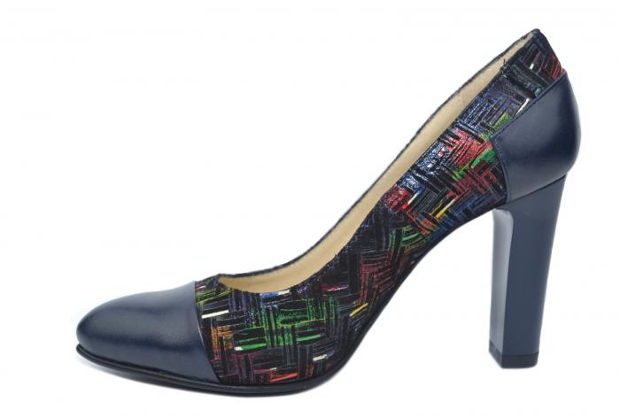 Pantofi cu toc Piele Naturala Bleumarin Yana D02188 1