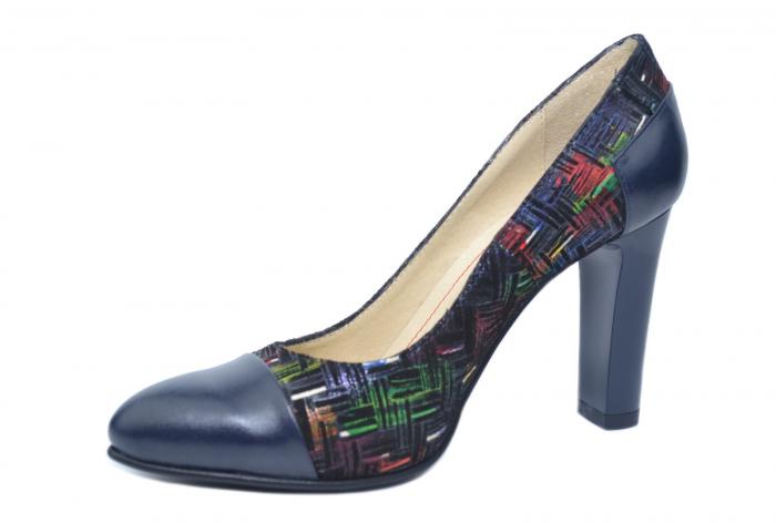 Pantofi cu toc Piele Naturala Bleumarin Yana D02188 2