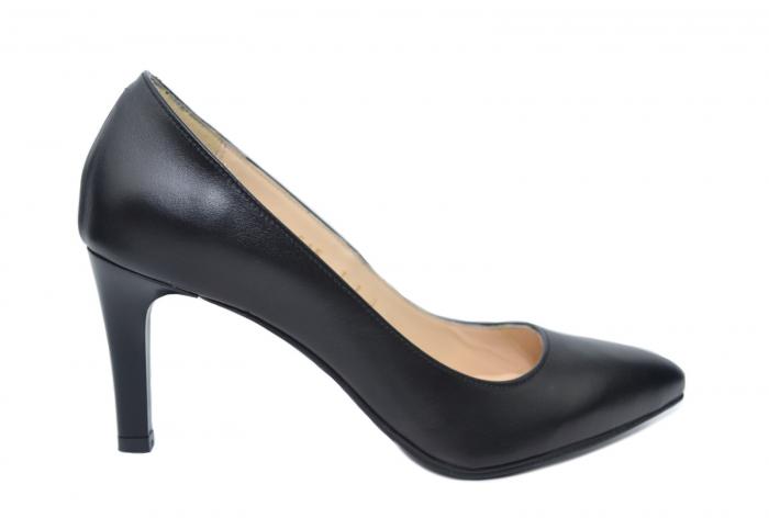 Pantofi cu toc Piele Naturala Negri Isabella D02200 0