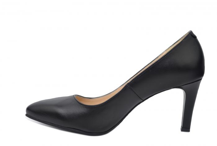 Pantofi cu toc Piele Naturala Negri Isabella D02200 1