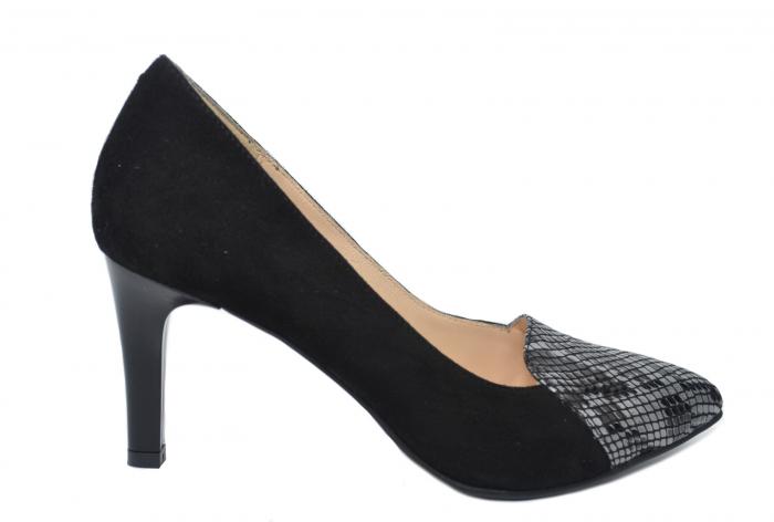 Pantofi cu toc Piele Naturala Negri Mina D02199 0