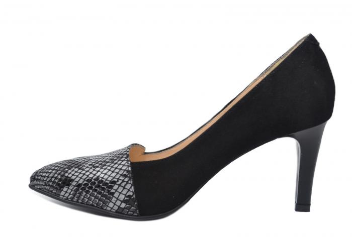 Pantofi cu toc Piele Naturala Negri Mina D02199 1
