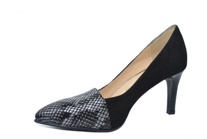 Pantofi cu toc Piele Naturala Negri Mina D02199 2