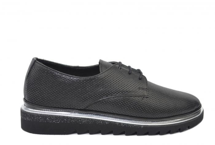 Pantofi Casual Piele Naturala Neagra Linda D02201 0