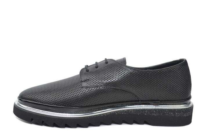 Pantofi Casual Piele Naturala Neagra Linda D02201 1
