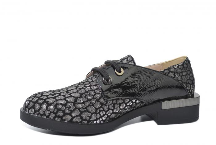 Pantofi Oxford Piele Naturala Neagra Letizia D02202 2