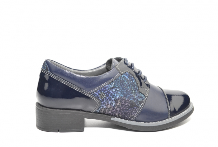 Pantofi Piele Oxford Naturala Bleumarin Anita D02205 0