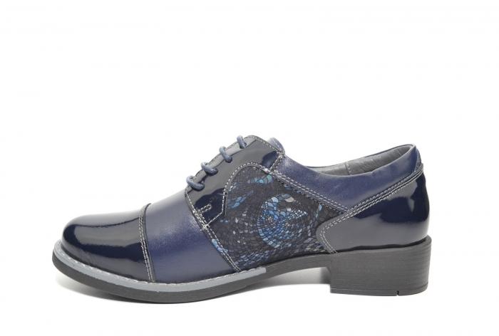 Pantofi Piele Oxford Naturala Bleumarin Anita D02205 1