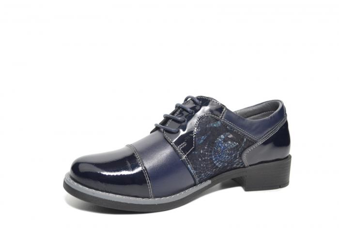 Pantofi Piele Oxford Naturala Bleumarin Anita D02205 2