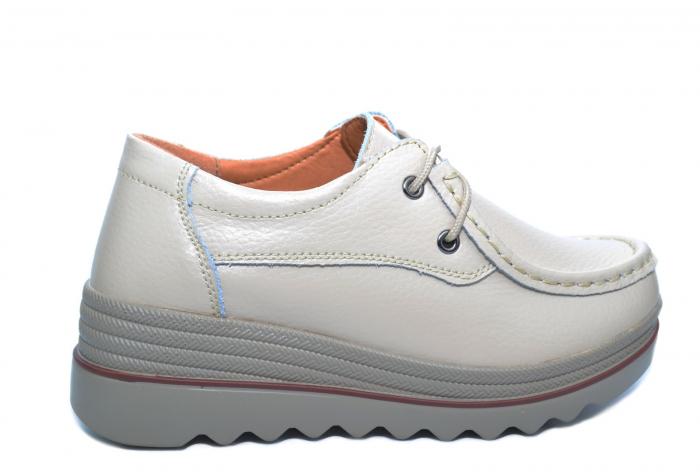Pantofi Casual Piele Naturala Bej Caterina D02264 0