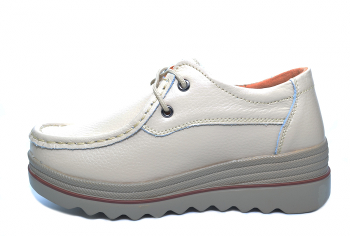 Pantofi Casual Piele Naturala Bej Caterina D02264 1